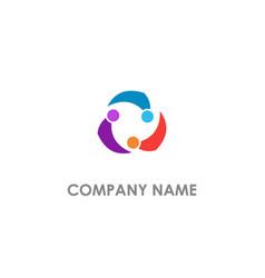 circle abstract group unity logo vector image