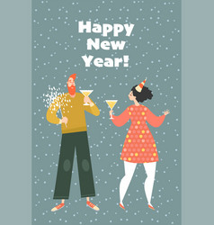 couple at a new year party vector image