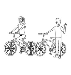 couple in bicicles black and white vector image
