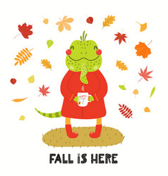 Cute iguana in autumn vector