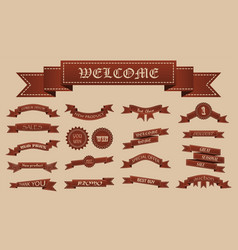 Embroidered brown vintage ribbons and stumps with vector