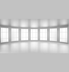 Empty round room 3d office with large windows vector