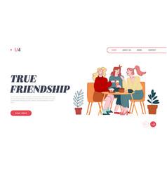 Female friendship website landing page girls vector