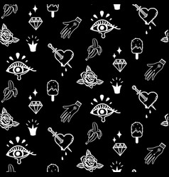 flash tattoo style black doodles seamless vector image