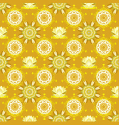 Flowers on yellow beige and neutral colors in vector