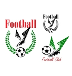 Football emblems with winged boots and balls vector image