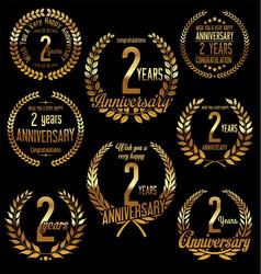 Golden laurel wreath anniversary collection 2 vector