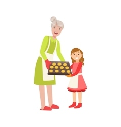 Grandmother And Granddaughter Baking Cookies Part vector image