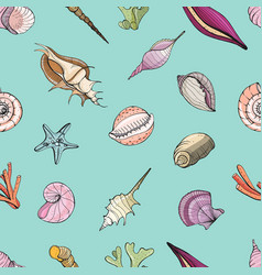 hand drawn seamless pattern with seashells vector image