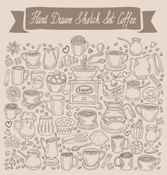 Hand drawn sketch set coffee vector