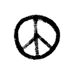 handdrawn pacifist sign peace symbol black brush vector image