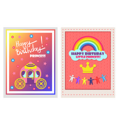 happy birthday posters set vector image