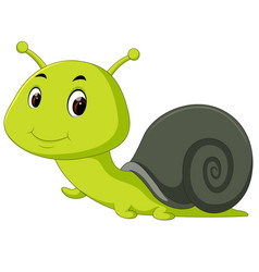 happy snail crawling vector image