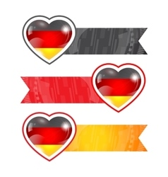 Hearts with flags and ribbons vector