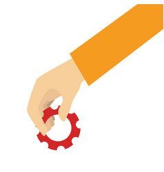 Human hand with gear machine isolated icon vector