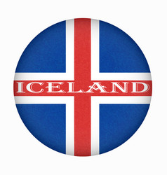 Iceland flag in circle shape isolated buttom of vector