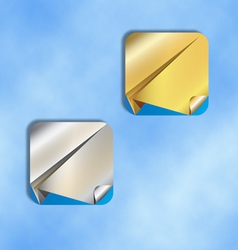 Ios icons silver and gold paper airplane vector