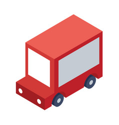 Isometric delivery truck object or icon - element vector