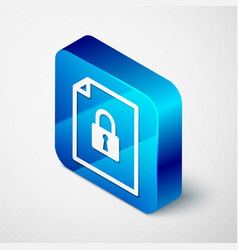 Isometric document and lock icon isolated on white vector