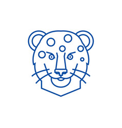 leopard head line icon concept leopard head flat vector image