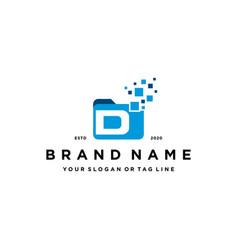 Letter d file folder logo design vector