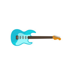 light blue electric guitar rock music instrument vector image