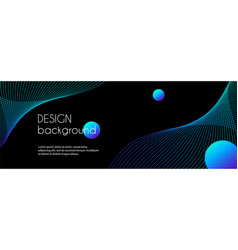 Long abstract banner with blue wavy lines vector