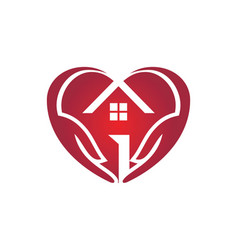 Love house care logo vector
