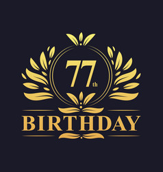 Luxury 77th birthday logo 77 years celebration vector