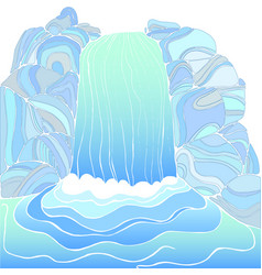 magic waterfall color page vector image vector image