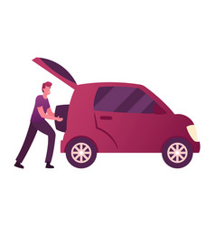 Male character put luggage into auto trunk man vector