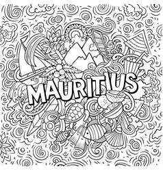mauritus hand drawn cartoon doodles vector image