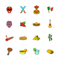 mexico icons set cartoon vector image