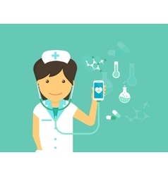 mobile medicine female doctor and vector image