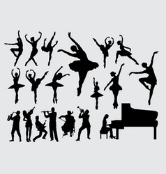 music and dance silhouette vector image