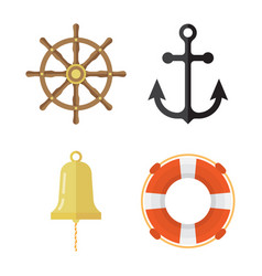 Nautical icons set lifebuoy anchor steering wheel vector