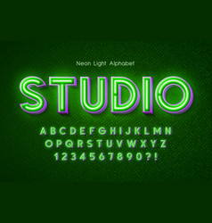 neon light 3d alphabet extra glowing font vector image