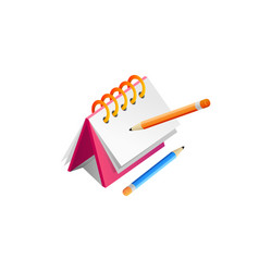note and pencil realistic design vector image