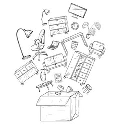 Office and home furniture in box mobile vector