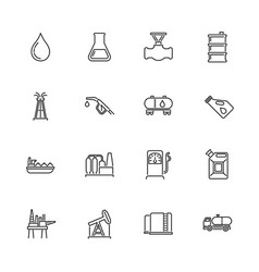 Oil industry - flat line icons vector