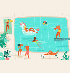 People swimming pool persons relaxing summer pool vector