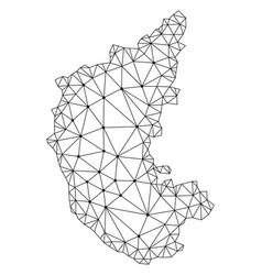 Polygonal carcass mesh map of karnataka vector