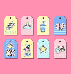 Pop art gift tags templates with funny patches vector