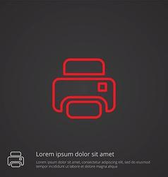 printer outline symbol red on dark background logo vector image