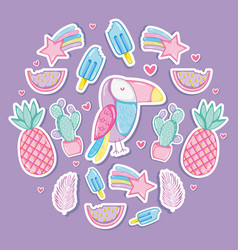 Punchy pastel cartoons collestion vector