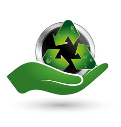 recycle symbol in hand vector image