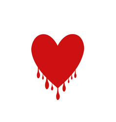 red heart with drops vector image