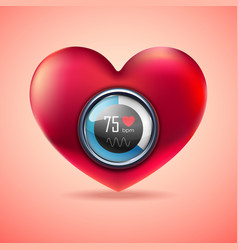 red heart with electrocardiogram function monitor vector image