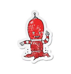 Retro distressed sticker of a cartoon alien vector