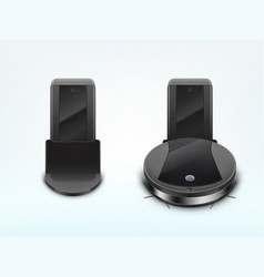 robot vacuum cleaner on docking station vector image